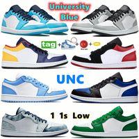 Niedrig 1S 1S Basketballschuhe Universität Blau verboten Unc Shadow Light Smoke Grey Toe Herren Womens Sneakers Hyper Game Royal Trainer mit Keychain