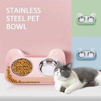 Çift Pet Kaseler Kedi Su Besleyici Sevimli Paslanmaz Çelik İçme Bulaşık Yavru Besleme Malzemeleri Küçük Besleyiciler