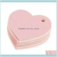 Greeting Cards Event Festive Supplies Home & Garden50Pcs Pink Wedding Favour Gift 4.3*4.3Cm Diy Tag Price Label Heart Shape Kraft Paper Card