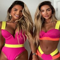 Plavky sexy néon cor push up thong biquíni alta corte atadura de swimsuit mulheres 2021 swimwear nadar praia vestir maiô para mulher 1198 z2