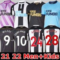 Newcastl e Birleşik Futbol Forması 21 22 Yeni Kale Wilson Shelvey Almiron 2021 2022 Joelinton Uzakta Siyah Futbol Gömlek Gayle Maximin Erkekler Kiti Çocuklar Willock Ritchie
