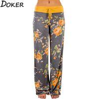 Yaz Çiçek Baskı Yüksek Bel Pantolon kadın Streetwear Gevşek Rahat Geniş Bacak Sweatpants Artı Boyutu Pantolon Pantolon Kadınlar 210423