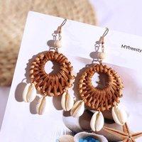Bohemian Handmade Round Vine Rattan Knit Drop Earrings For Women 2020 Fashion Boho Natural Shell Hanging Earring Jewelry Gifts