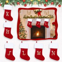 Christmas Decorations Stocking English Letter Embroidery Tree Ornament Xmas Kid Gift Candy Holder Bag Party Decor Supply