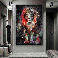 抽象的なライオンズ油絵のキャンバスのモダンなカラフルな動物ポスターと版画のための版画のための装飾的な写真