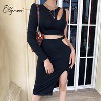 Iki Parçalı Elbise Ollymurs Moda Seksi Oymak Kadın Tops Ve Plaj Tatil Tarzı Kısa Etek Katı Siyah Suit Bayanlar Rahat Giysileri