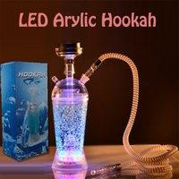 Акриловый кальян стеклянный бонг бутылка чашки Шиша набор со светодиодным светом и шлангом для курения воды труб WaB