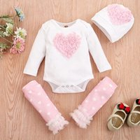 Clothing Sets Born Infant Baby Girls Heart Embroidered Romper+Leg Warmer+Hat Outfits Set