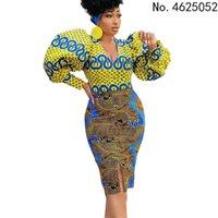 Ethnic Clothing African Bodycon Dresses For Women Fashion Elegant V Neck Long Lantern Sleeve High Waist Office Ladies Work Wear Clothes