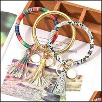 Favor Event Festive Party Supplies Home & Gardenpu Leather Tassels Bracelet Keychain Pu Wrist Ring Sunflower Leopard Patterns Bangle Key Hol
