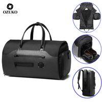 Ozuko Seyahat Çantası İşlevli Erkekler Takım Elbise Depolama Büyük Kapasiteli Bagaj Çanta Erkek Su Geçirmez Seyahat Duffel Çanta Ayakkabı Cebi 210329