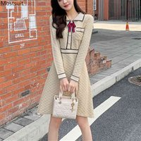 Primavera otoño mujeres vestido de punto elegante vintage manga larga giro abajo arco arco bolsillo túnico delgado vestidos de fiesta 210518