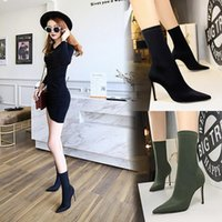 Women Sexy Sock Boots Knitting Stretch High Heels for Woman Fashion Shoes Spring Autumn Ankle Boot Female Heel Booties 99uO#