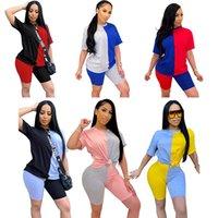 Женские наборы для женщин 2 шт. Шорты штанов + топы футболки Tops Topsuits костюм Костюм с коротким рукавом шеи вырезанные расценины цветные контрастные повседневные сексуальные плюс размер XS / S / M / L / XL / 2xL / 3XL / 4XL / 5xL /