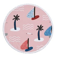 Tassel Beach Towel Coconut Tree Impresso Tapeçaria Poliéster Praia Coberturas Borla Mulheres Xale Yoga Mat Tapetes Piquenique 10 Designs OWE7555