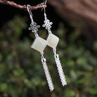 999 sterling silver dangles ladies vintage crystal earrings inlaid gemstones Chinese knot tassel hypoallergenic