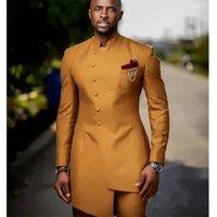 Africano Golden Satin Slim Fit Homens Suits Doivo Doivo TuxeDos Bridegroom Ternos Botão Frente Botão Melhor Homem Pron Blazer Jacket + Pant Y201026