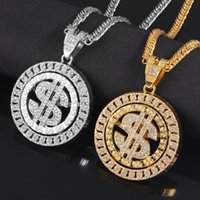 Pendant Necklaces Hip Hop Rotatable US Dollar Necklace Men Gold Sliver Color Out Crystal Sign Rock Bling Rapper Jewerly