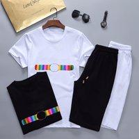 21ss Мужские дизайнеры трексуита буквы вышивка летняя мода спортивная одежда с короткими рукавами пуловер джоговые брюки костюмы O-шеи спортсмен