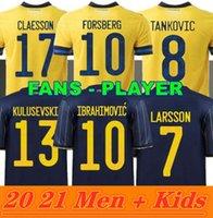 Men Kids 2021 Швеция Футбол Джерси 22 22 Домашний дом Ибрагимовический комплект Кулусевский Берг Форсберг Ларссон Tankovic Isak Claesson Футбольная рубашка