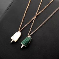Female fashion brand jewelry White shell turquoise ice cream bar with diamond necklace with logo