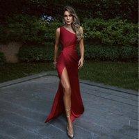 Long Bourgogne Une épaule Sexy Bal robes de bal hautes plis fendus sirène robe de fête formelle 2021 robe de bal femme de haute qualité