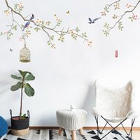 Wall Stickers Chinese Style Flowers Home Office Decor Wallpapers Teenager Bedroom Living Room Decoration Art Poster Mural