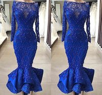 Real Images Luxury Royal Blue Mermaid Prom Evening Dresses Bateau Neck Beaded Pearls Fitted Bodice Ruffles Ankle Length Short Cocktail Gowns
