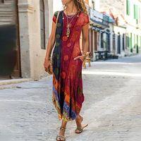 Casual Dresses Vintage Party For Women Floral Print Short Sleeve Summer Dress Plus Size Sundress Pocket Beach Long Boho