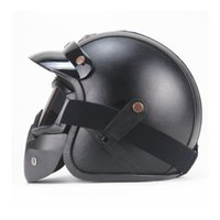 Motorcycle Helmets Vintage Detachable Glasses And Mouth Filter Retro Mask Half Open Face 3 4 Leather Helmet