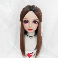 Mascarillas de fiesta (Hua-06) Mujer dulce chica resina media cabeza kigurumi máscara con bjd ojos cosplay japonés rol de anime lolita crossdress muñeca