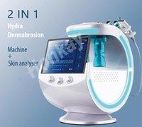 Multifunción Smart Ice Blue Ultrasonic RF Aqua Skin Scrubber Dermabrasion con sistema de análisis de la piel