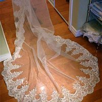 New Gorgeous Real Image Wedding Veils Three Meters Long Veils Lace Applique Crystals Sheer Tulle Cathedral Length Cheap Bridal Veil