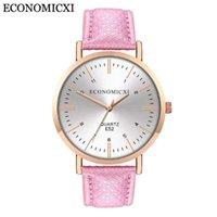 Relojes de pulsera Moda Mujeres Causal Reloj de cuarzo analógico Dial redondo con correa de cuero PU Relojes de banda Relogio