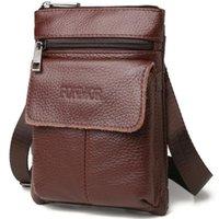 محافظ حقيبة قطري الرجال حزام الهاتف المحمول الخصر مربع الأعمال جلد طبيعي متعدد الوظائف الكتف رسول صغيرة للذكور