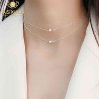 Ashiqi Natural Freshwater Pearl 925 Sterling Silver Silver Collane per le donne gioielli a catena a strati