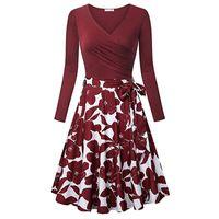 Casual Dresses Women Elegant Bandage Dress Evening Party Wear V-Neck Boho Print Loose Midi Homewear Sukienka