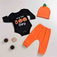 Cute Halloween Baby Three-piece Suit CLothes Cotton Jumpsuit+ Trousers + Hat Pumpkin Set Ins Infant Boys And Grils Winter Warm Clothing G902KYN