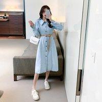 Casual Dresses Denim Dress 2021 Autumn Style Retro Gentle Wind Waist Slim Shirt Skirt Fashionable Women's Clothing