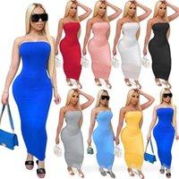Verano Mujeres Larga Maxi Dress Off Shoulder Bandeau Vestidos Casuales Tight High Stretch Sexy Club Bodycon Falda Lápiz 832