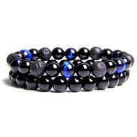 Charm Bracelets 2pcs set Natural Stone Bracelet Round Lava Volcanic Beads Couple Yoga Balance Healing Men Women Jewelry