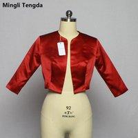 Wraps & Jackets Mingli Tengda Red Wine Bolero Mariage Shawl 3 4 Sleeves Bridal Jacket Coat Stain Wedding Stole Cape Shrug Woman