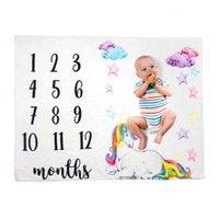 Baby Meilenstein Decken Neugeborenen Fotografie Hintergrund Flanell Blanket Säuglingsblume Anzahl Swaddle Brief Swaddling Wrap Ljja3530-13