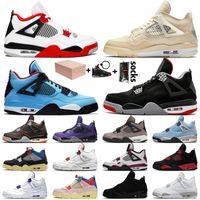 Kutu ile OFF White Nike Air Jordan 4 Retro 4 4s Jumpman Stock x Kadın Erkek Basketbol Ayakkabıları Cream Sail Guava Ice Union Spor ayakkabıları