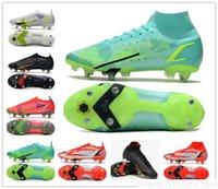 Saco de Presente Mens High Low Ankle Sapatos de Futebol Ronaldo Cr7 Mercurial Superfly 8 VIII Elite SG Pro Anti Clog Superflys 14 FG XIV