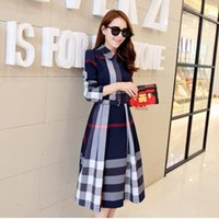 New Fashion Spring Summer Women Dress Long Sleeve Stand Collar Plaid Party Work Business Shirt Dresses Clothing 3 colors