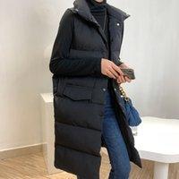 2020 가을 겨울 코튼 조끼 코트 여성의 긴 한국 캐주얼 스탠드 칼라 느슨한 검은 소매 복어 재킷 파카
