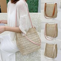 Evening Bags Bucket Straw Beach Vintage Woven Shoulder Bohemian Summer Handbag Women Tote Designer Brand Big Fashion 2021