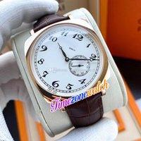 40mm historiques americanos 1921 82035 relógio automático dos homens 82035 / 000R-9359 Dial Branco Rose Gold Case Cabeça de couro marrom relógios TimeZoneWatch E121C1