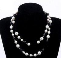 디자이너 쥬얼리 목걸이 우아한 여성 흑인과 백인 진주 스웨터 체인 파리 패션 다이아몬드 목걸이 웨딩 쥬얼리 액세서리